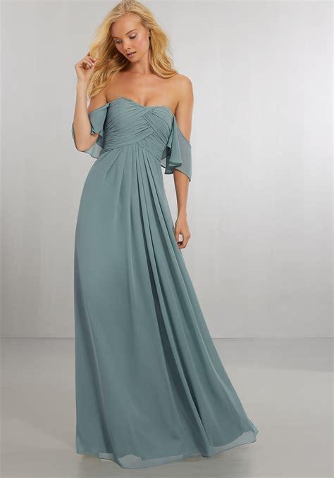 Shoulder Chiffon Dress boho chic chiffon bridesmaids dress with the shoulder