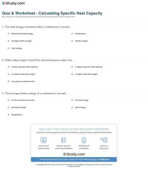 specific heat capacity worksheet worksheets tutsstar thousands of printable activities