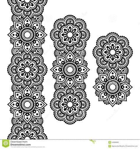 mehndi indian henna tattoo long pattern design elements