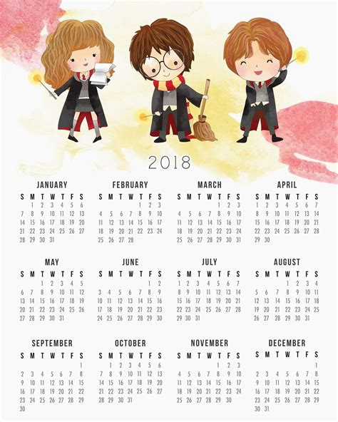Calendario Año 2018 Colombia Harry Potter Calendario 2018 Para Imprimir Gratis Oh