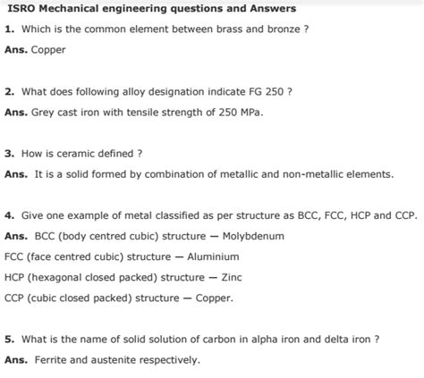 isro mechanical engineering interviews previous questions answers  matterhere