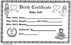baby doll birth certificates birthdays pinterest