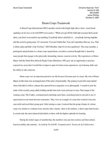 Teamwork Essay Exles by Drum Corps Teamwork Essay