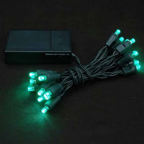green 20 light battery operated christmas lights on green wire novelty lights inc