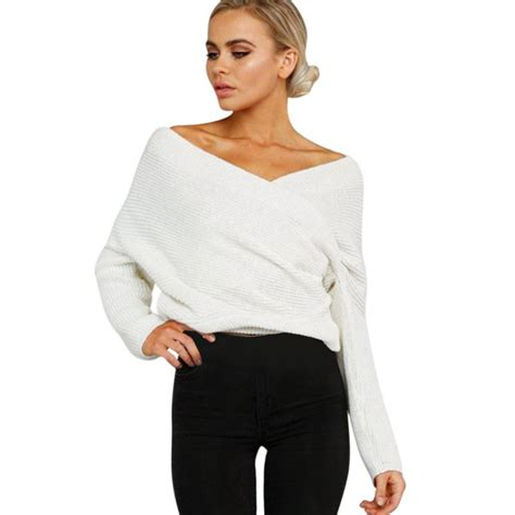 Cross V Neck Sleeve autumn v neck shoulder batwing sleeve jumper pullover cross wrap front