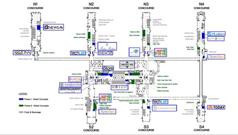 phx airport map sky harbor starts t4 phase 2 retail search
