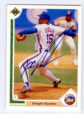 dwight gooden autographed baseball card (new york mets