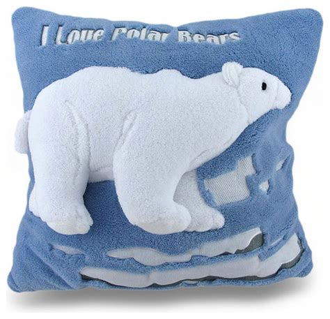 Fuzzy Throw Pillows I Polar Bears Soft Blue And White Fuzzy Textured