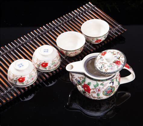 Home Decoration Beautiful Antique Bird Style Porcelain Tea Pot Classic White And Blue Exquisite 5 Pcs Flower Birds Design Ceramic Tea Pot Tea