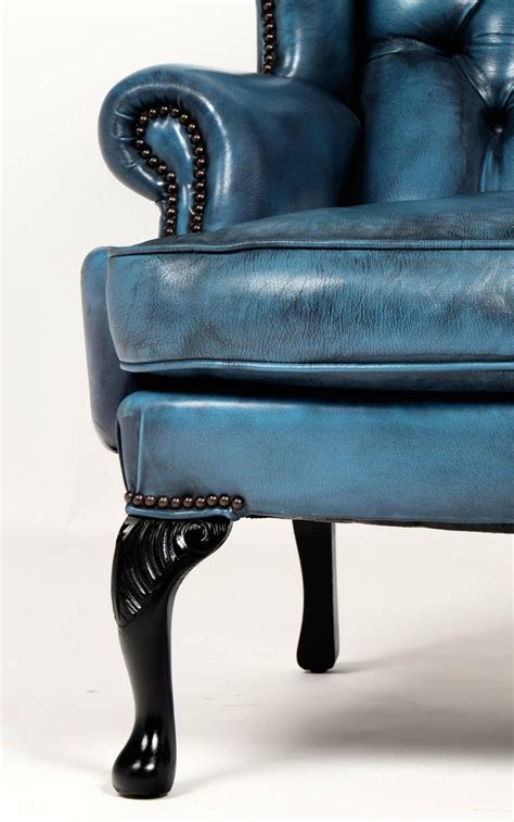 Chesterfield Wing Armchair by Vintage Steel Blue Leather Chesterfield Wingback Armchair At 1stdibs