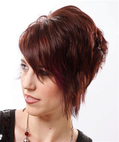 mahogany side bun hair short straight alternative hairstyle with side swept bangs