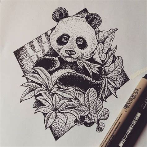 panda tattoo dotwork pleased dotwork style panda with leaves in rhombus frame