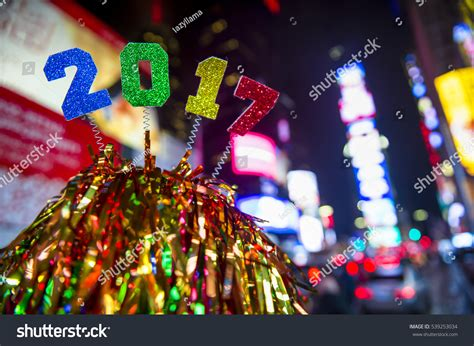 new year 2017 new york colorful new year 2017 message atop stock photo 539253034