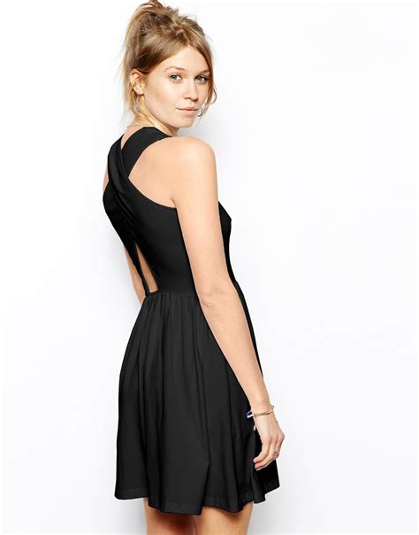 by zo skater dress with cross neck shopstyle women lyst asos skater dress with cross back in black