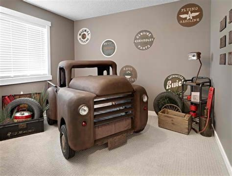 Car Room Decor Vintage Brown Truck Car Themed Bedroom Design Ideas For Boys With Grey Painted Wall Also Garage