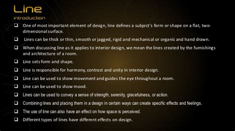 design definition of line elements of interior design