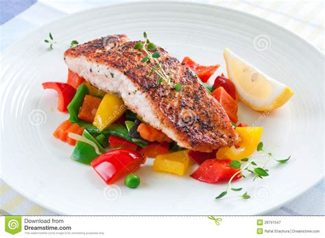 vegetables that go with salmon salmon with vegetables royalty free stock photography