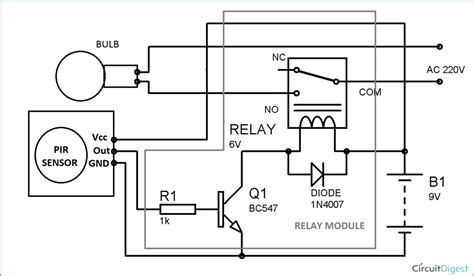 automatic room lights using pir sensor and relay circuit
