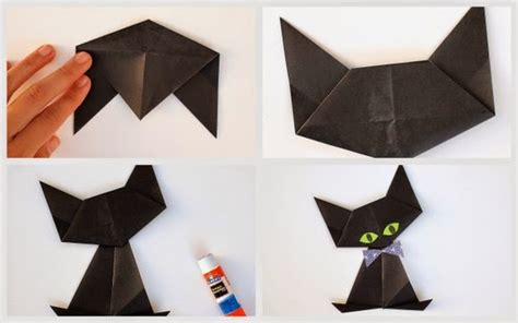Paper Folding Cat - origami black cat pink stripey socks