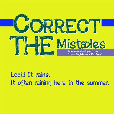The Mistakes exercises quizzes grammar vocabulary