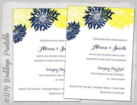 free printable wedding invitations navy wedding invitation template yellow navy blue diy summer