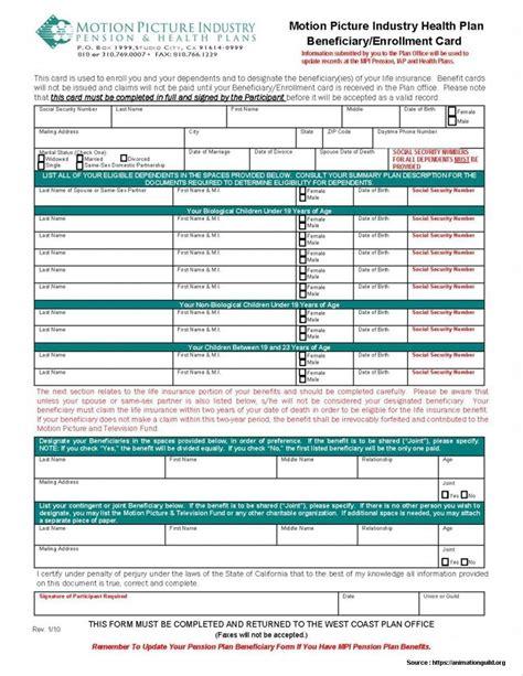 enrollment application template 401k enrollment form template form resume exles