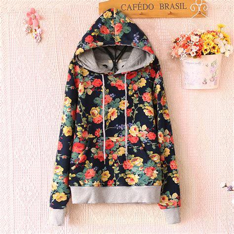 Hoodie Hodie Denim Flower Murah T2909 sweater floral hoodie flowers sleeves sweet japanese flower hoodies trendy fall