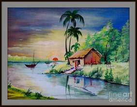sunset time poster colour painting painting by sanjay wagh