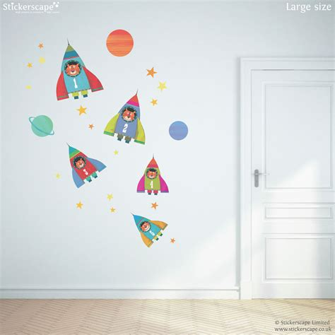 rocket wall sticker rocket collection wall sticker pack stickerscape uk