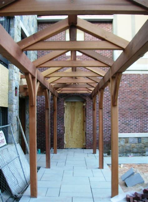 cedar timber frame walkway handcrafted  vermont