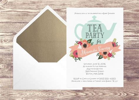Tea Baby Shower Invitations Ideas by Printed Baby Shower Tea Invitation With Gold