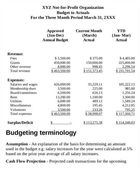 non profit project template 6 non profit budget template free sle exle format