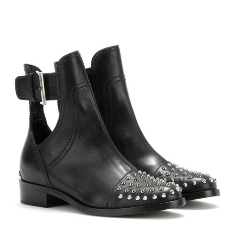 studded boots lyst miu miu studded leather boots in black