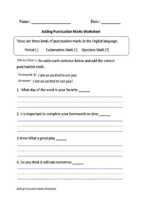 Punctuation Practice Worksheets by Adding Punctuation Marks Worksheet Part 1 Beginner Great