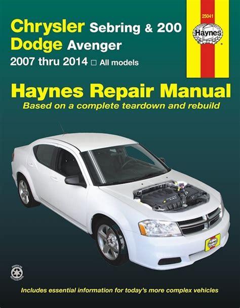 Chrysler Sebring 200 Dodge Avenger Repair Manual 2007