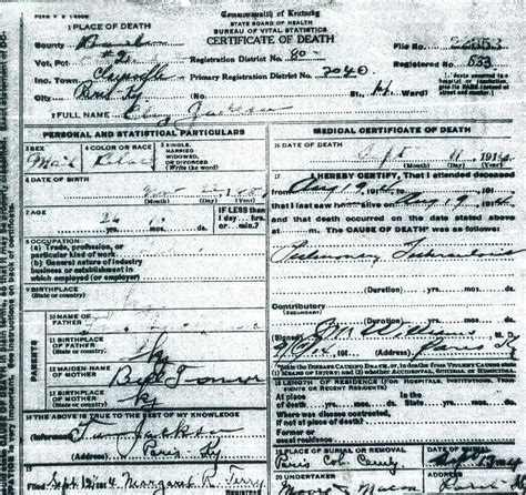 Kentucky Vital Records Birth Certificate Kentucky American Vital Records Project