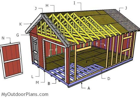 16x24 Shed Plans Free by 16x24 Gable Shed Roof Plans Myoutdoorplans Free