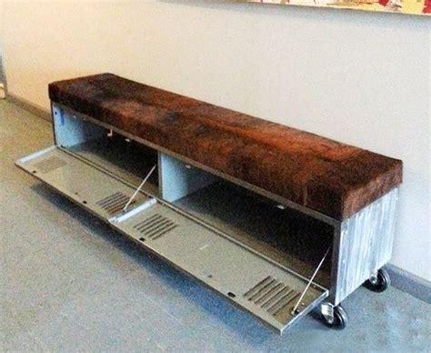 vintage storage bench seat vintage steel locker storage bench w cowhide seat posts
