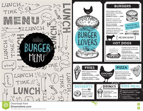 Menu Cafe Restaurant Template Placemat Food Board Design Stock Illustration Image 74865974 Placemat Menu Templates