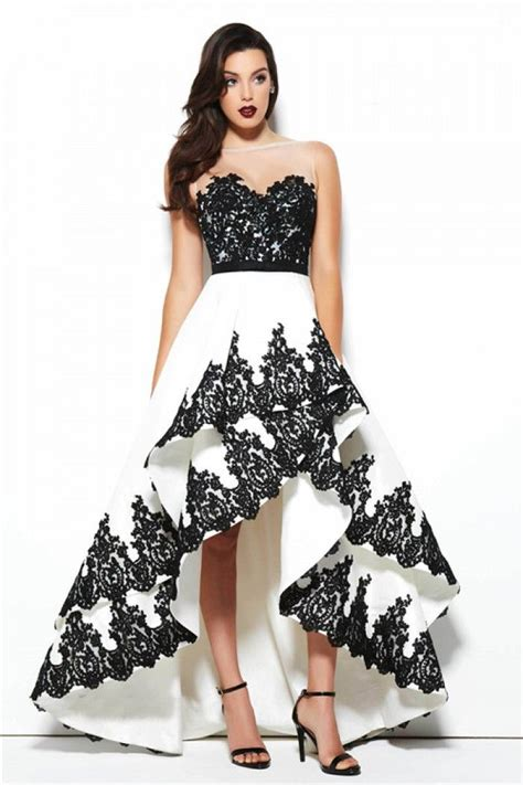 prom dresses on pinterest lace gowns prom and sequin dress lovely illusion neckline high low white and black taffeta