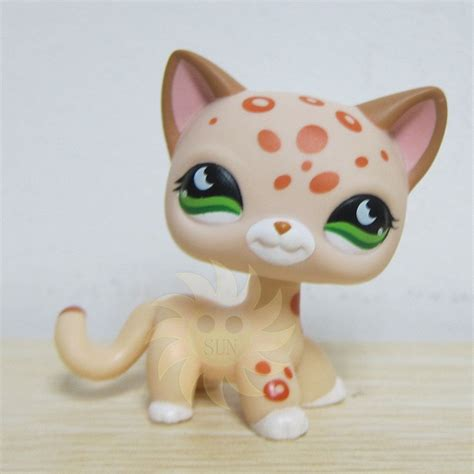 ebay lps cats and dogs littlest pet shop lps cat leopard cheetah with orange spots green 852 ebay