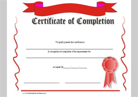 certification of completion template format template of