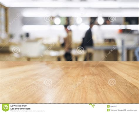 Kitchen Counter Background Table Top With Blurred And Kitchen Background Stock