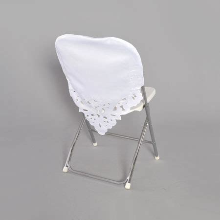 white plastic folding chair with white chair cap