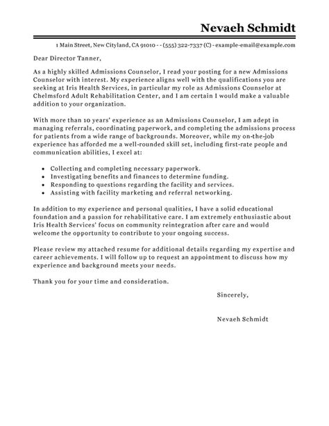 College Admissions Advisor Cover Letter Leading Professional Admissions Counselor Cover Letter Exle Cover Letter Exles Resources