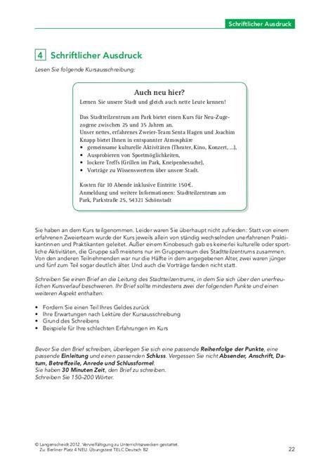 Anmeldung Brief Beispiel Berlinerplatz Neu B2 Test