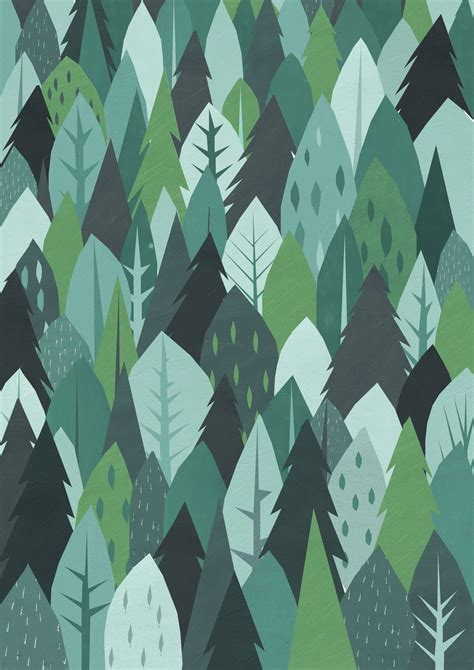 cute mountain pattern forest gift wrap