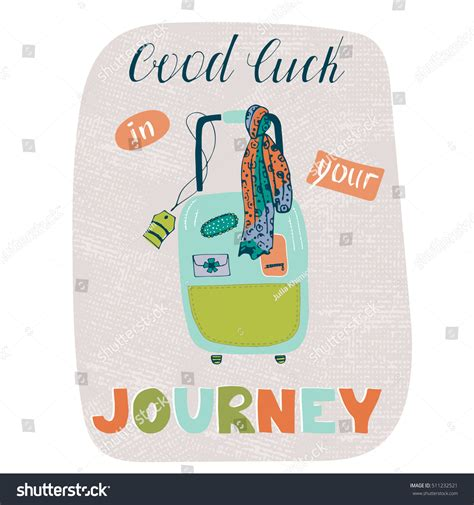 luck greeting card template vector travel card template suitcase greeting stock vector