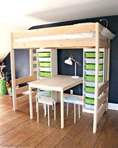 how to build bunk beds diy loft bed with desk and storage