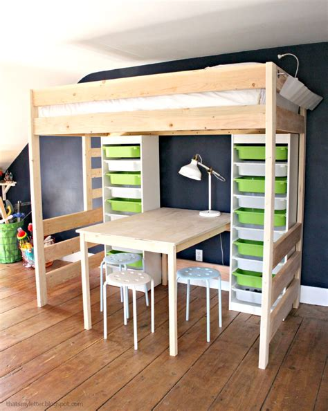 Diy Bed Desk Diy Loft Bed With Desk And Storage